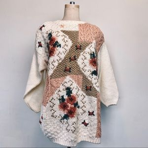 Vintage Hand Knit Floral Cozy Sweater